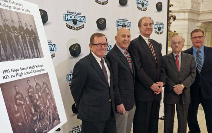 With Vincent Cimini, center, who made the announcement to create the Rhode Island Hockey Hall of Fame, are Bill O'Connor, Mal Goldenberg, Arnie Bailey, and Bob Larence. They are members of the Hall's board of directors.